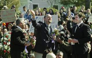 """Our Big Gay Buddies - Jay & Brook - Getting """"hitched"""" in New Paltz in 2004."""