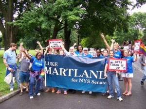 Luke Martland and Supporters Marching in Albany's Pride Parade on Sunday, June 13th